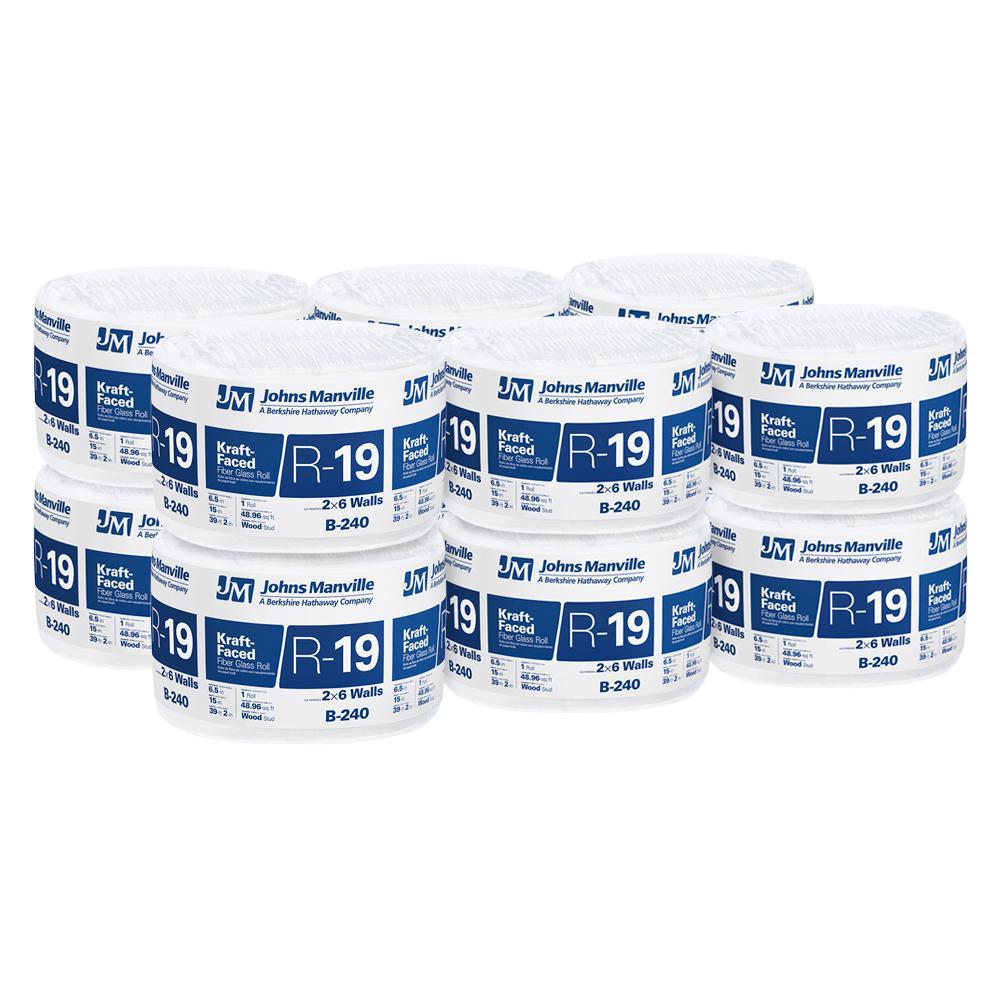 Owens Corning R 13 Kraft Faced Insulation Roll 15 In X 32: Johns Manville R-19 Kraft Faced Fiberglass Insulation Roll