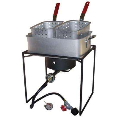 54,000 BTU Propane Gas Outdoor Cooker with Rectangular Aluminum Fry Pan and Two Baskets