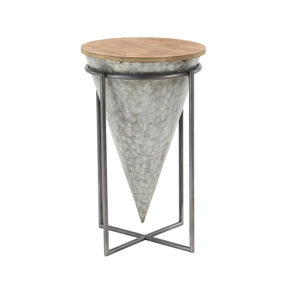 Litton Lane Gray Inverted Cone Shaped Accent Table With Beige Tabletop