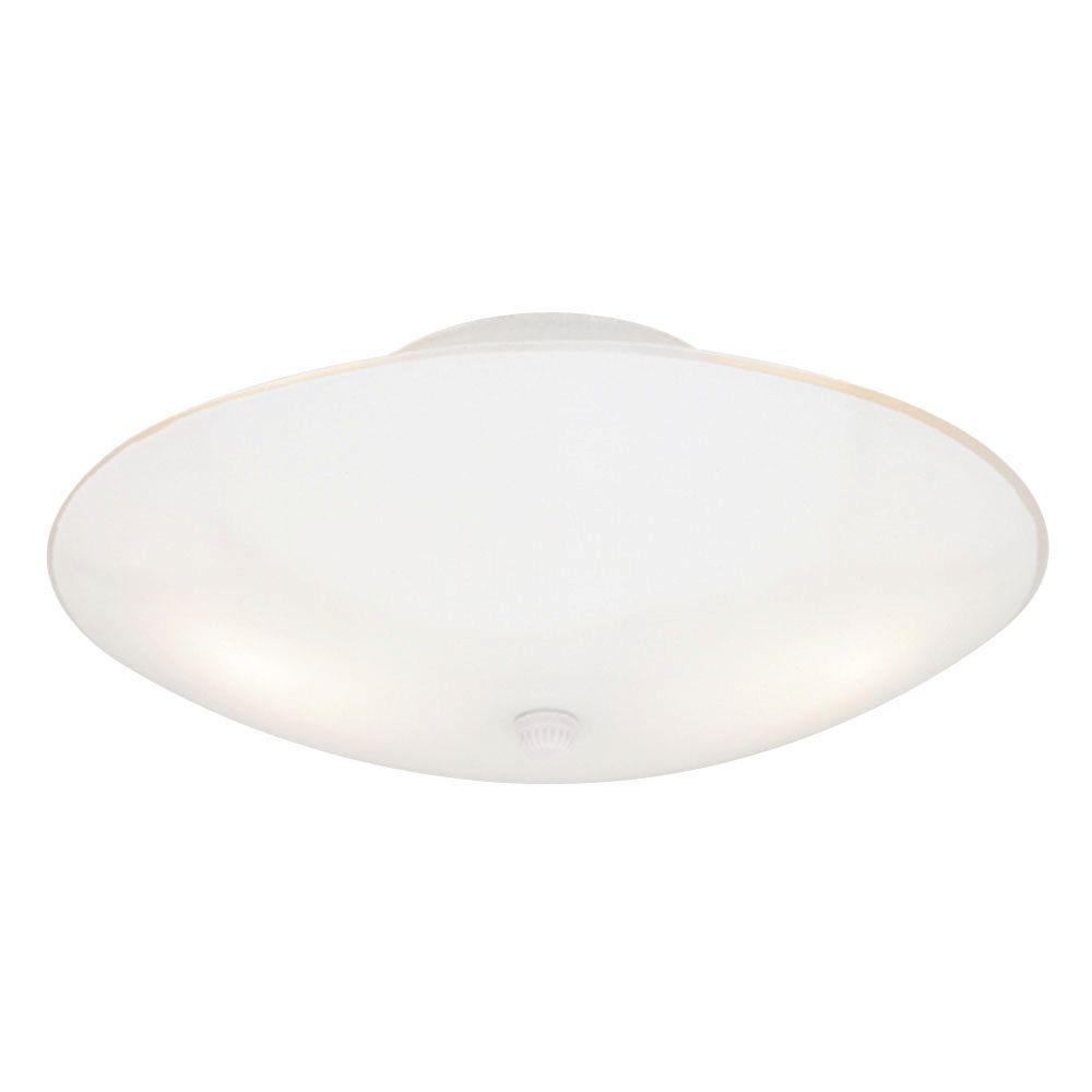 White semi flushmount lights lighting the home depot 2 light white interior ceiling semi flush mount light with white glass arubaitofo Images