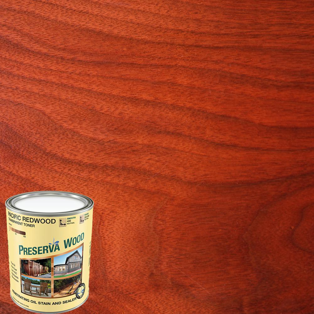 Preserva Wood 1 Qt Oil Based Pacific Redwood Penetrating Exterior Stain And Sealer