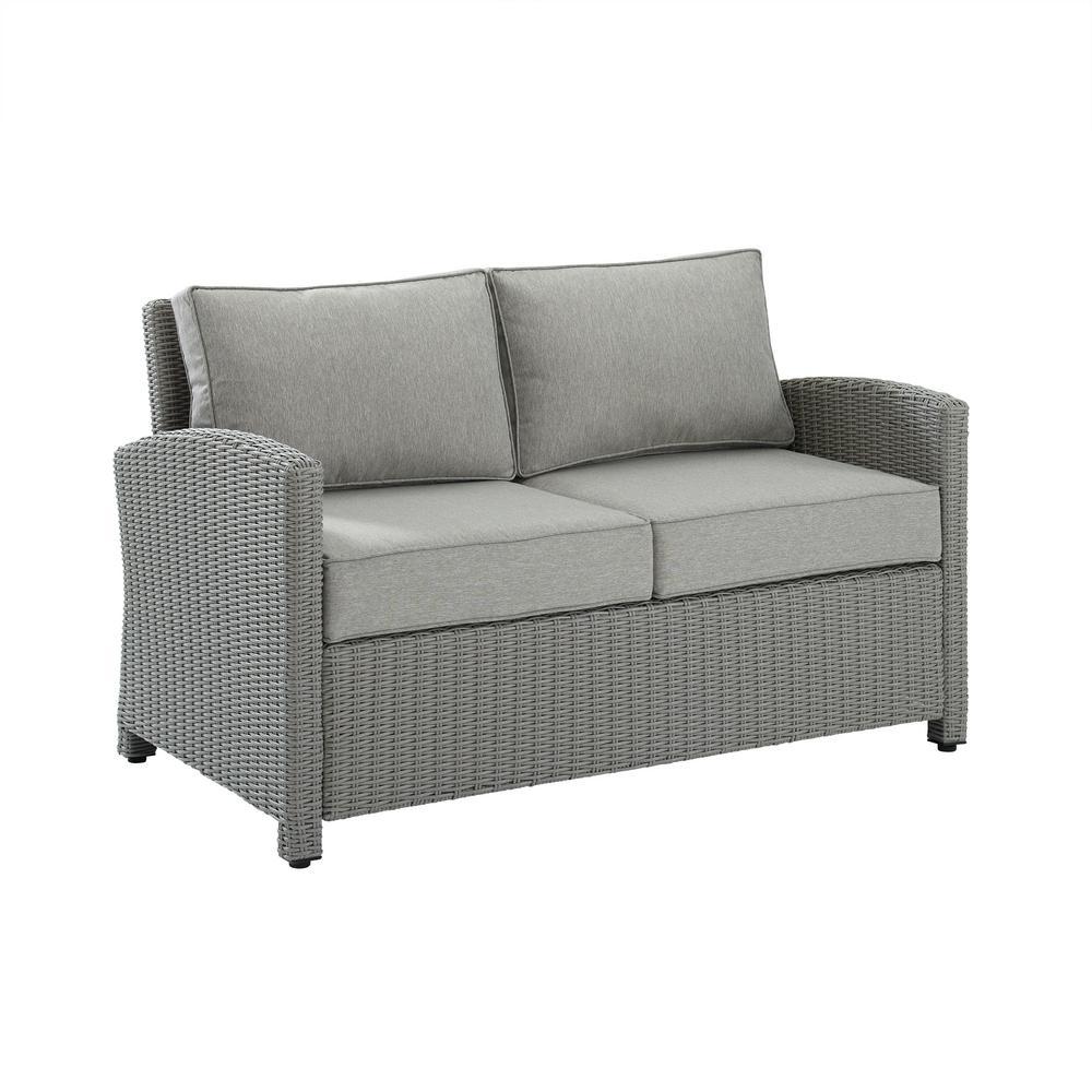 Bradenton Gray Wicker Outdoor Loveseat with Gray Cushions