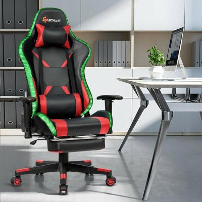 Massage Flashing Gaming Chair Reclining PU Racing Chair with Lumbar Support and Footrest