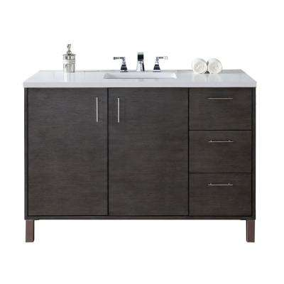 Metropolitan 48 In. W Single Vanity In Silver Oak With Quartz Vanity Top In  White