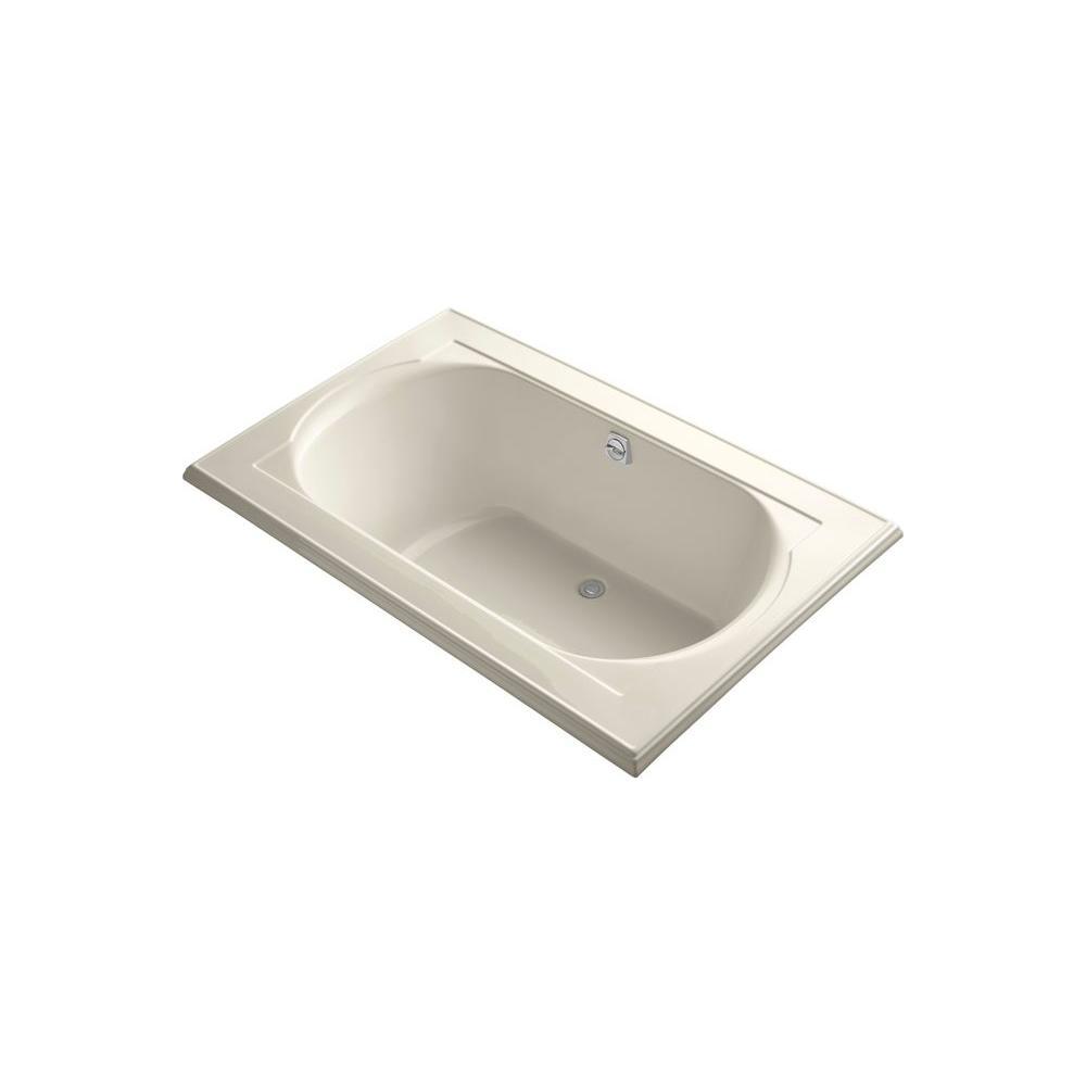 KOHLER Memoirs 5-1/2 ft. Rectangular Drop-in Center Drain Soaking Tub in Almond