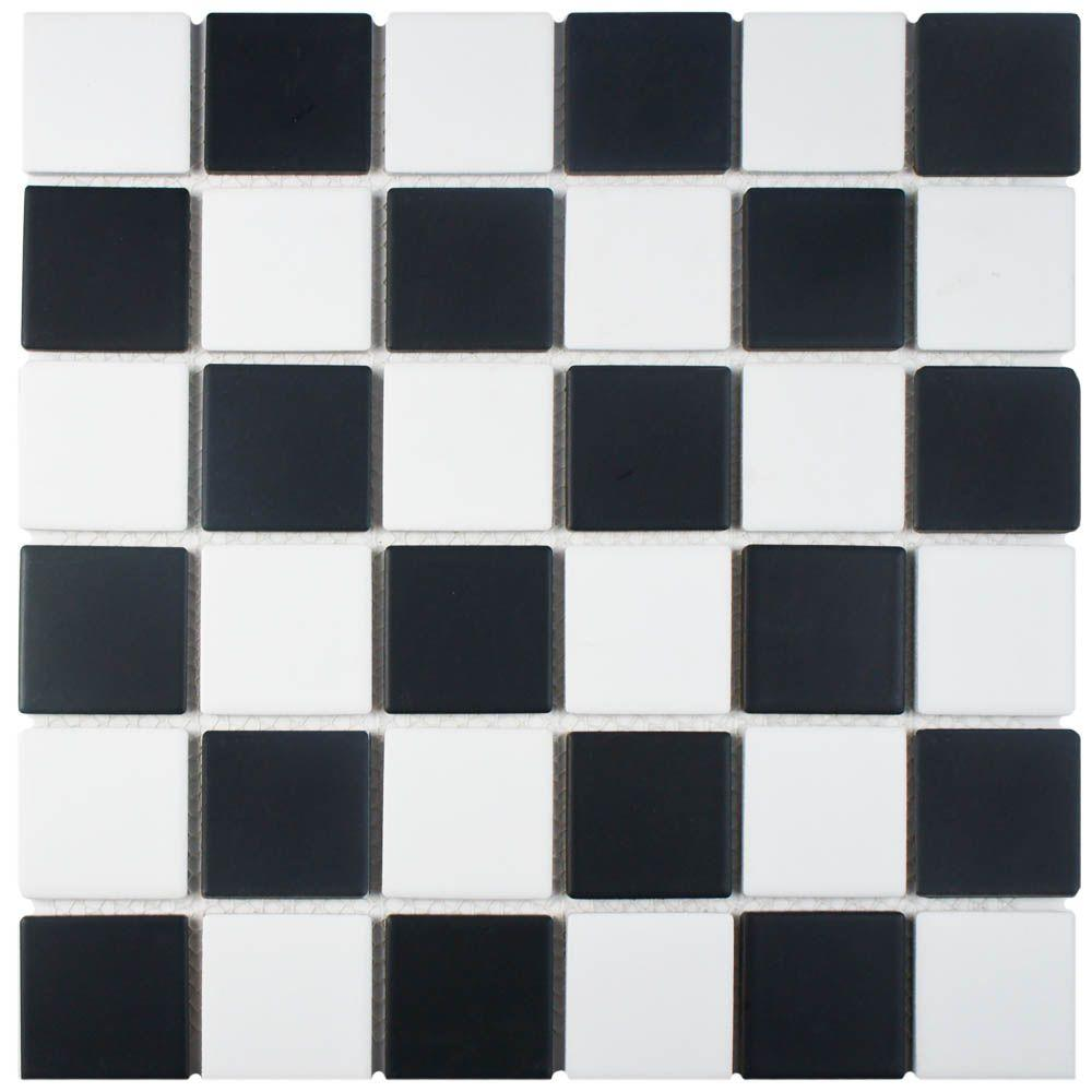 Kitchen Black And White Tile Floor: Merola Tile Squire Quad Checkerboard 12-1/2 In. X 12-1/2