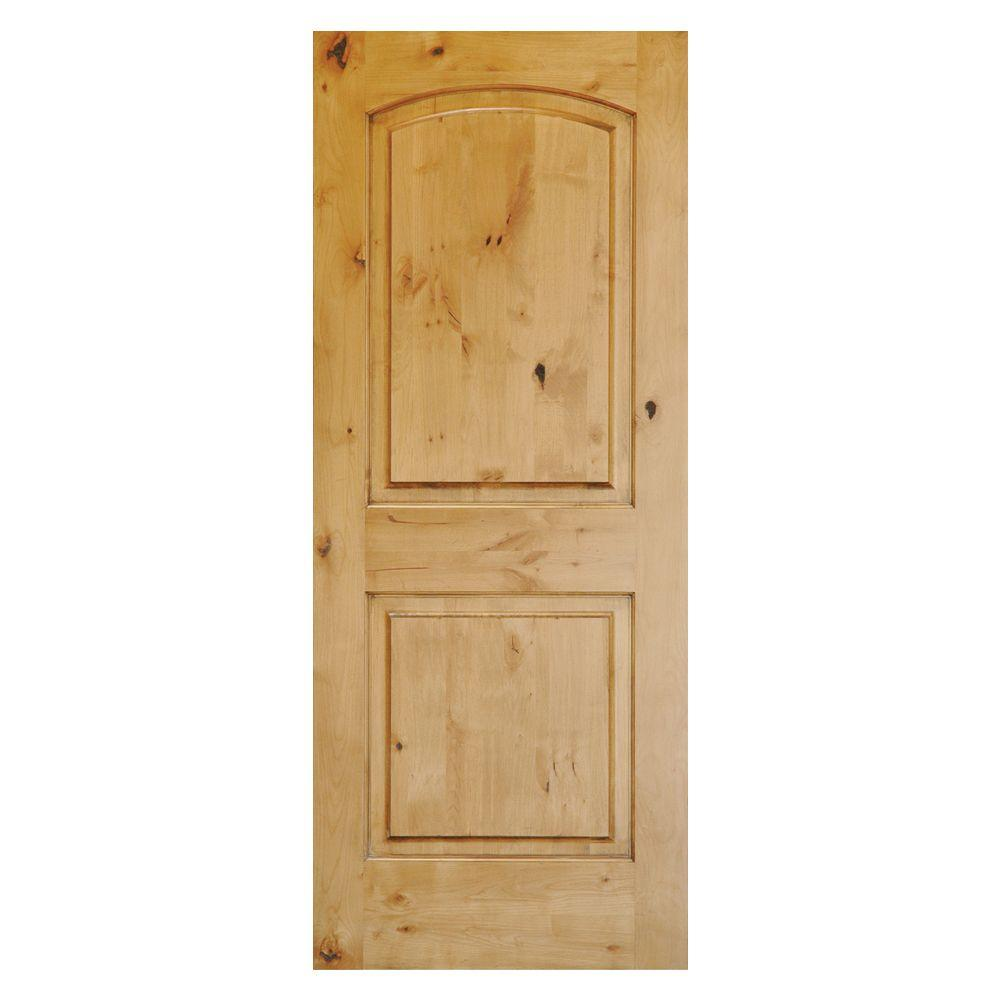 Krosswood doors rustic knotty alder 2 panel top rail arch solid wood core stainable left hand for Interior wood doors home depot