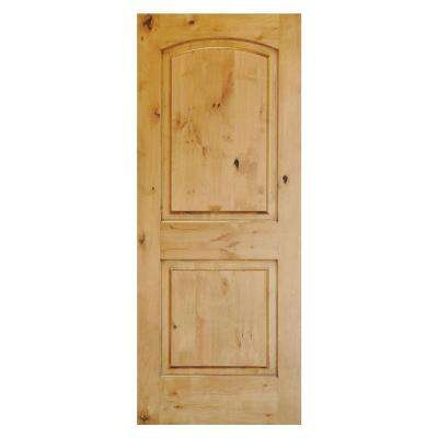 24 in. x 80 in. Rustic Knotty Alder 2-Panel Top Rail Arch Unfinished Wood Front Door Slab