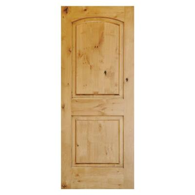 48 in. x 80 in. Rustic Knotty Alder 2-Panel Top Rail Arch Unfinished Wood Front Door Slab