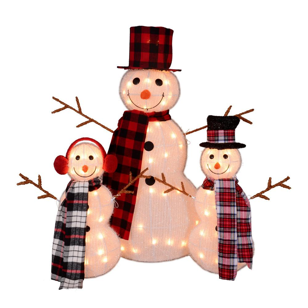 35 in. Christmas Outdoor Decorations Lighted Tinsel Snowman Family (3-Pack)