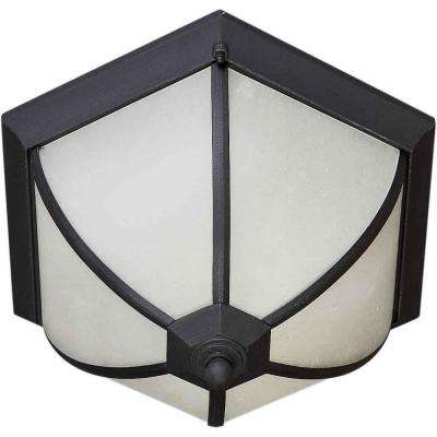 2-Light Black Outdoor Flushmount with Frosted Seeded Glass