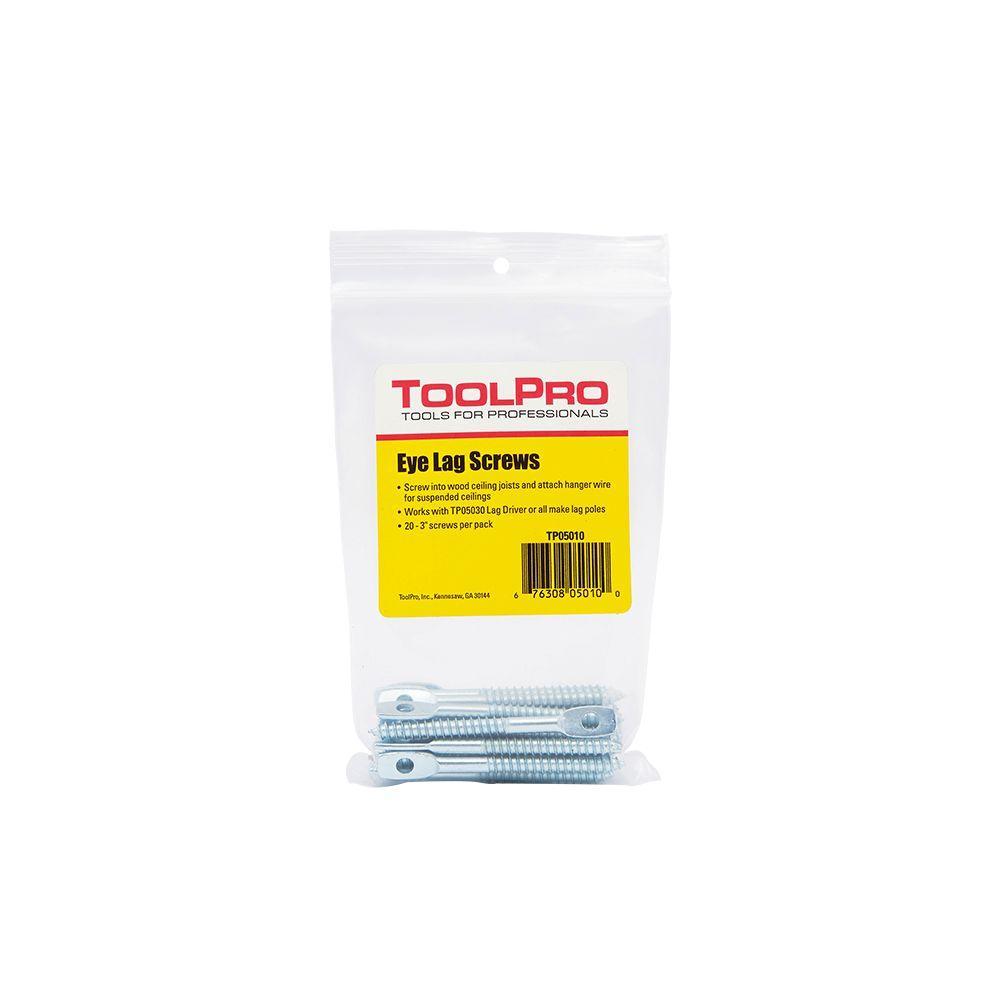ToolPro 1/4 in. x 3 in. Eye Lag Screws (20-Pack)