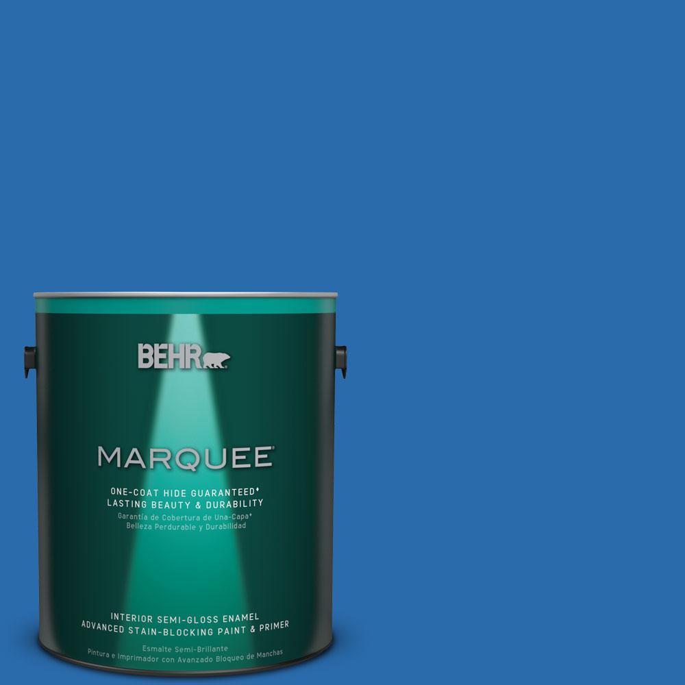 BEHR MARQUEE 1 gal. #MQ4-24 Electric Blue One-Coat Hide Semi-Gloss Enamel Interior Paint