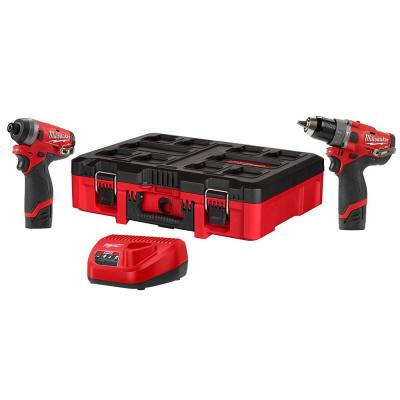 Milwaukee M12 FUEL 12-Volt Lithium-Ion Brushless Cordless Hammer Drill and Impact Driver Combo Kit (2-Tool) W/PACKOUT Case