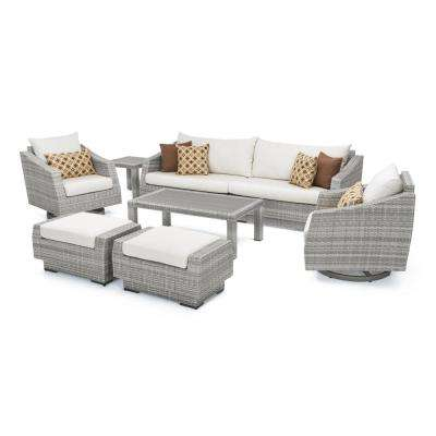Cannes 8-Piece Motion Wicker Patio Deep Seating Conversation Set with Sunbrella Moroccan Cream Cushions
