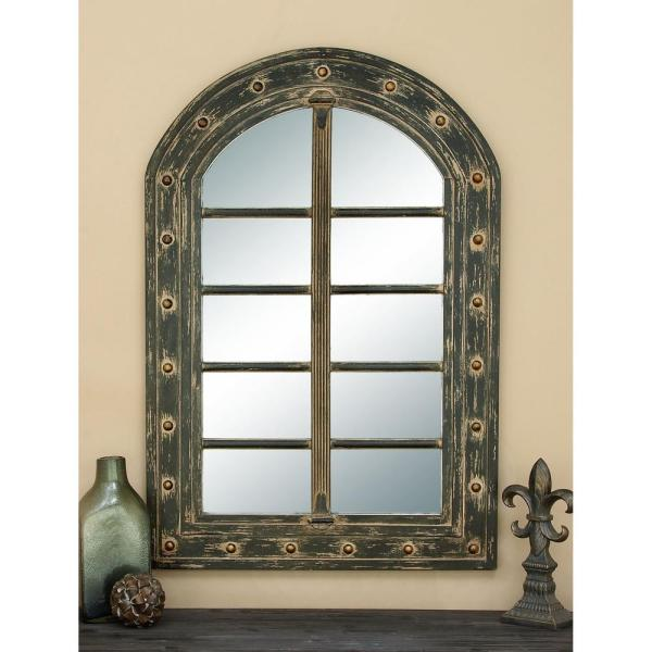 Large Arch Distressed Wood Italian Provincial Mirror (48 in. H x 32 in. W)
