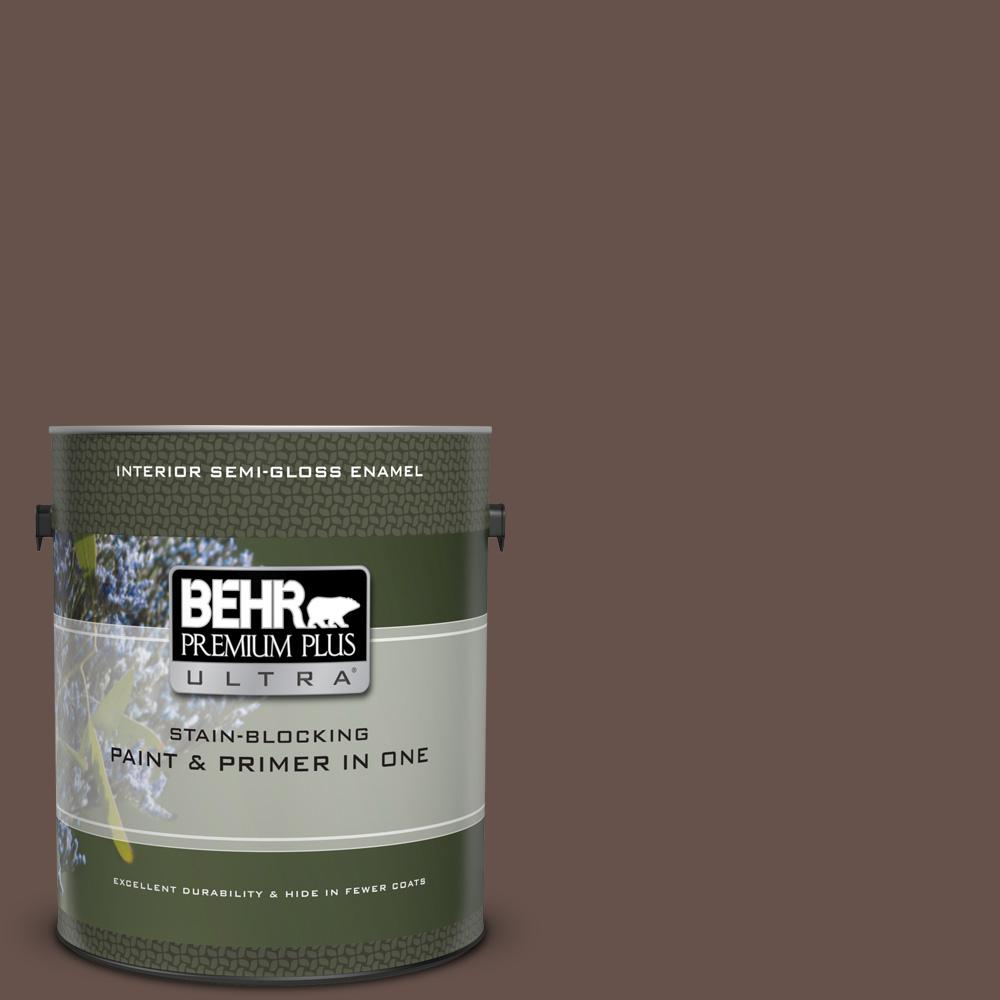 Behr Premium Plus Ultra 1 Gal Ul140 3 Chocolate Swirl Semi Gloss Enamel Interior Paint And Primer In One 375301 The Home Depot