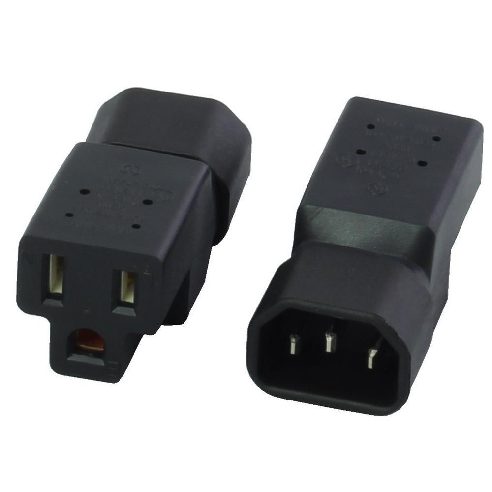 ac works iec to nema adapter iec c14 to nema 5 15r regular household female connector ws 089. Black Bedroom Furniture Sets. Home Design Ideas