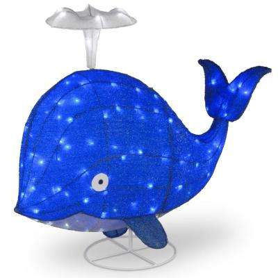 40 in. Spouting Blue Whale with LED Lights