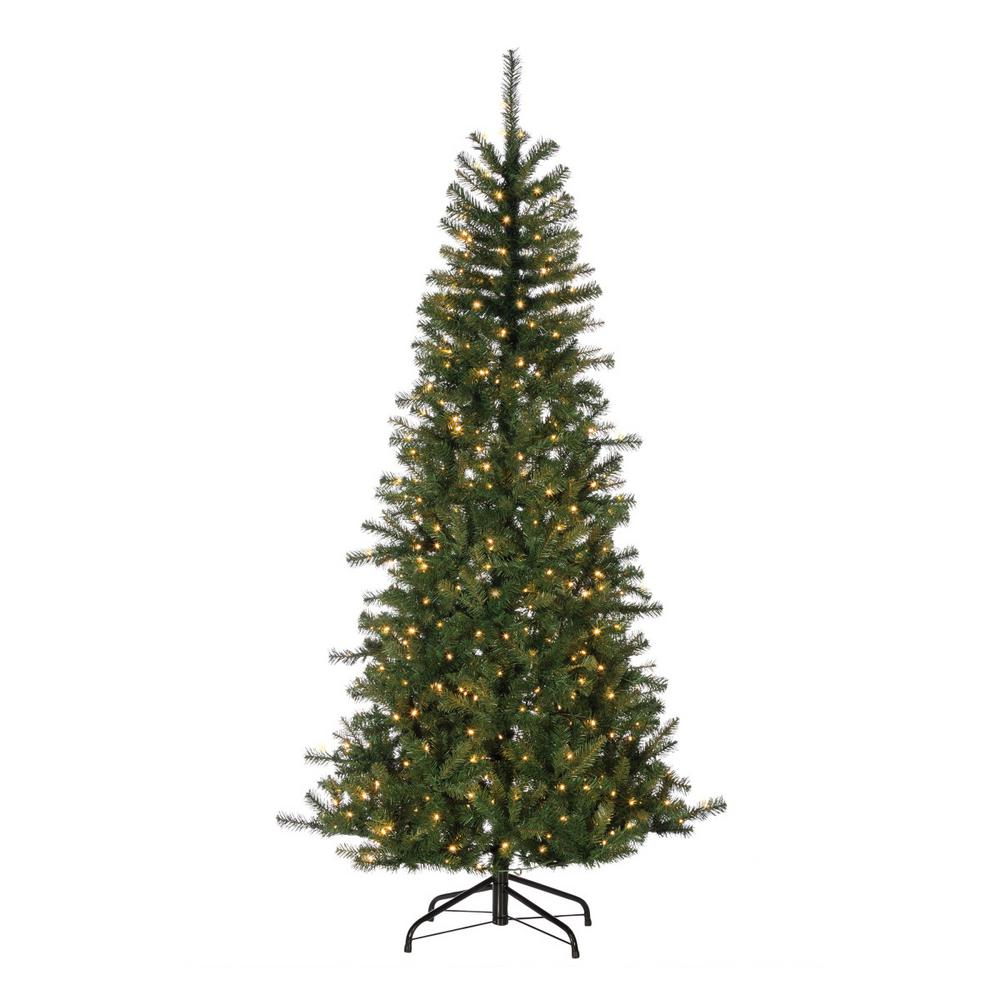 7 ft. Natural Cut Noble Fir Artificial Christmas Tree with 500 UL ...