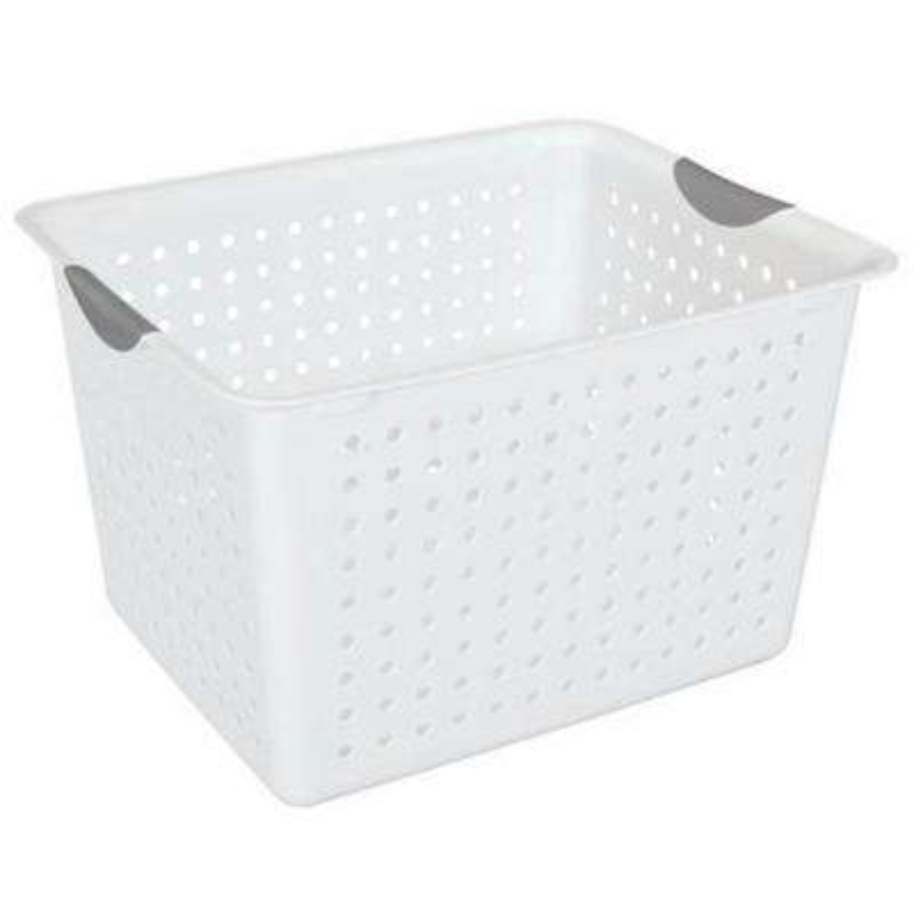 25.2 Qt. Plastic Storage Bin Organizer Basket with Handles (18-Pack)