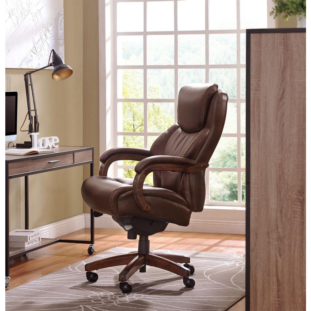 La Z Boy Delano Chestnut Brown Bonded Leather Executive Office Chair 45833 The Home Depot