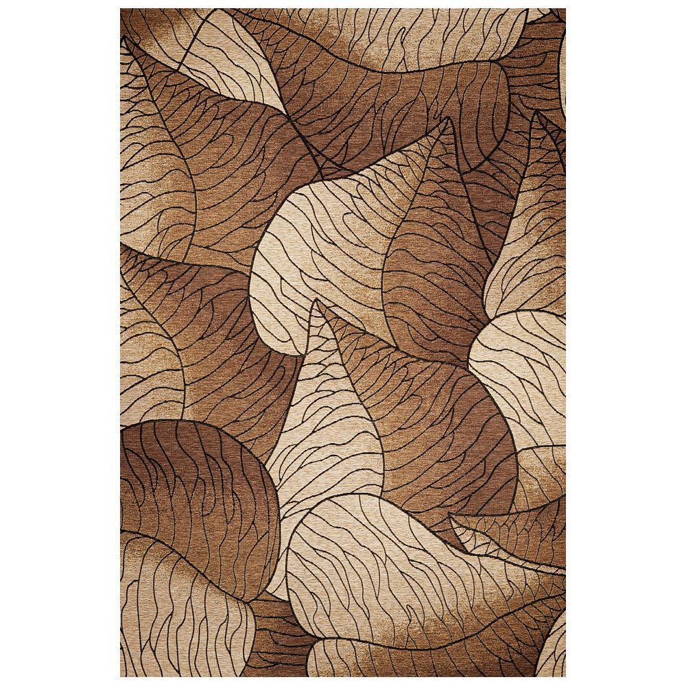 Leaf Motif Beige/Mocha 8 ft. x 11 ft. Area Rug