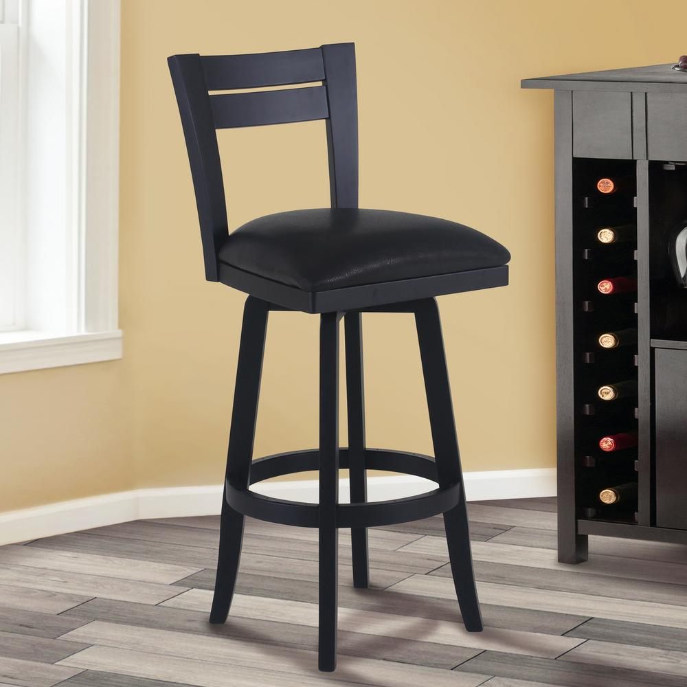 Armen Living Bristol 30 In. Black Faux Leather And Black Wood Finish Swivel  Barstool