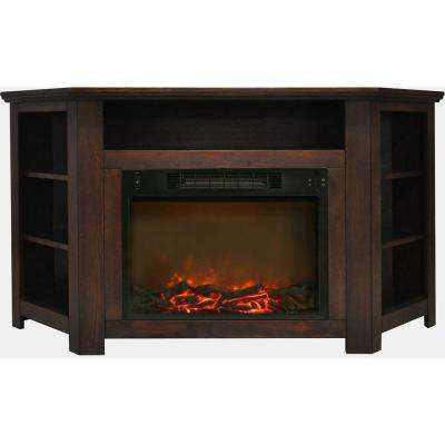 Stratford 56 in. Electric Corner Fireplace in Walnut with 1500-Watt Fireplace Insert