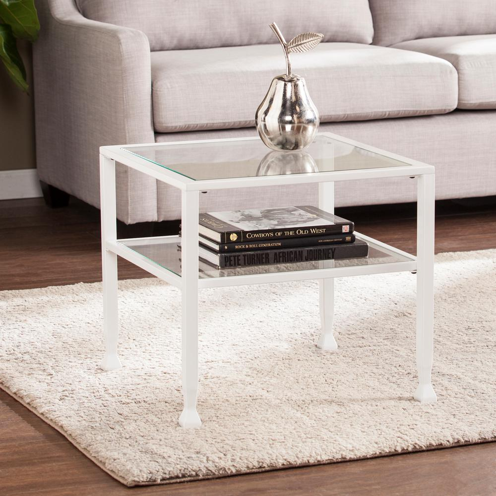 Southern enterprises coffee table accent tables living room galena metal and glass white bunching cocktail table geotapseo Gallery