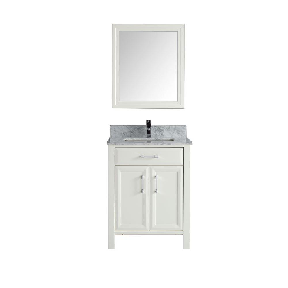 Calais 28 in. Vanity in White with Marble Vanity Top in