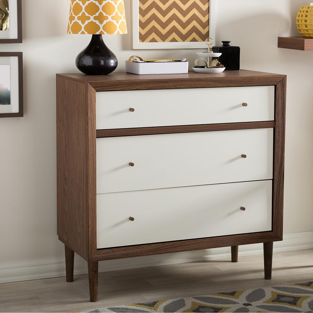 Baxton Studio Harlow 3-Drawer White and Medium Brown Wood Chest 28862-6782-HD