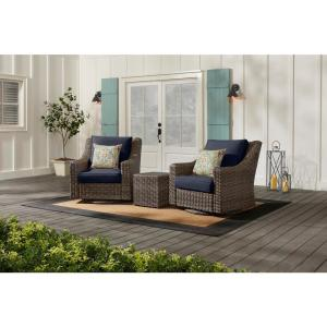 Rock Cliff Brown 3-Piece Wicker Outdoor Patio Seating Set with CushionGuard Midnight Navy Blue Cushions