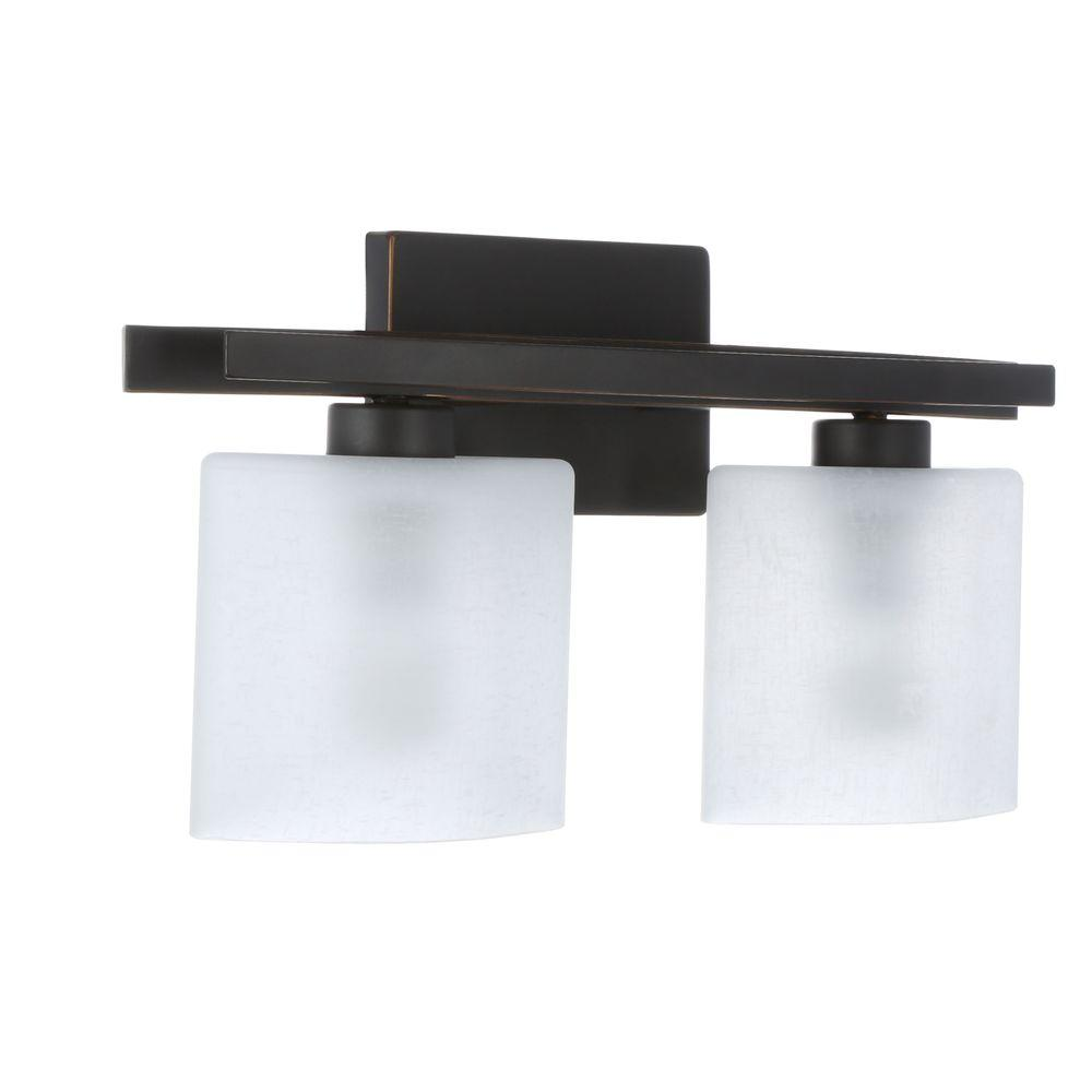 Hampton Bay Ettrick 2 Light Oil Rubbed Bronze Sconce With Hand Pained Gl Shades