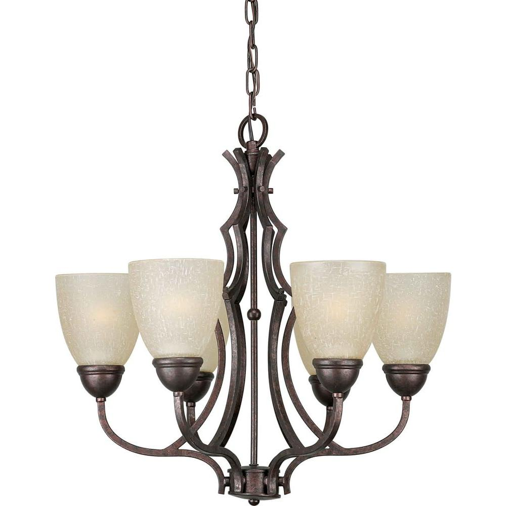 Talista 6-Light Black Cherry Chandelier with Umber Linen Glass