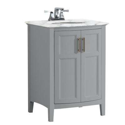 Winston 24 in. Rounded Front Bath Vanity in Warm Grey with Marble Extra Thick Vanity Top in Bombay White with Basin