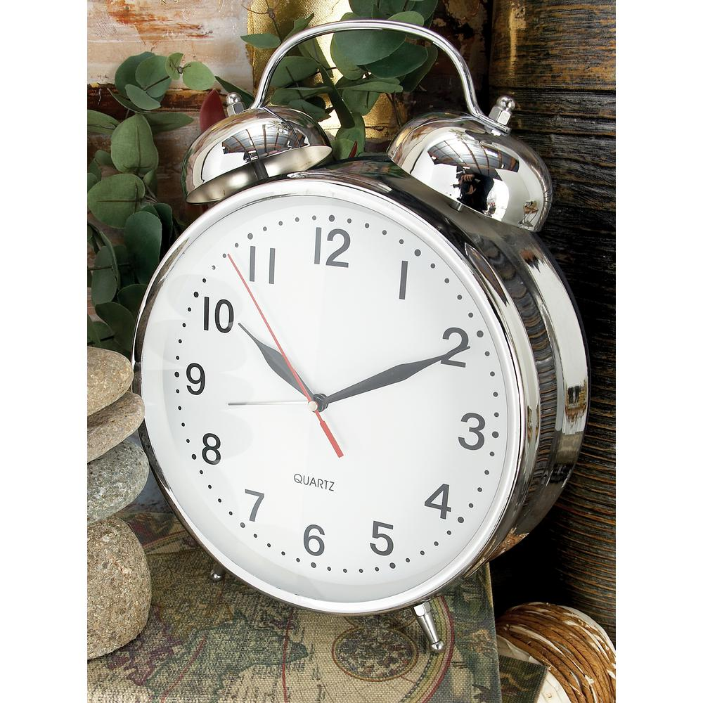 12 in. x 9 in. Polished Silver Classic-Style Table Clock with