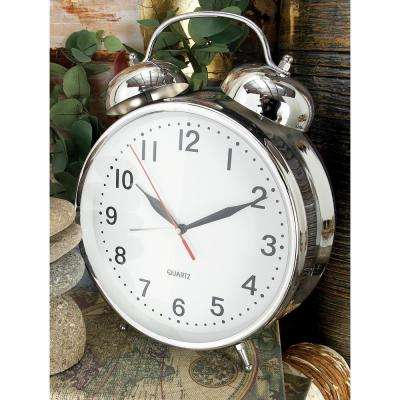 12 in. x 9 in. Polished Silver Classic-Style Table Clock with Alarm