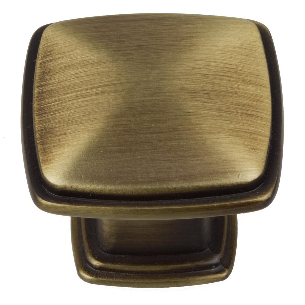 1-1/4 in. Antique Brass Square Deco Cabinet Knobs (10-Pack)