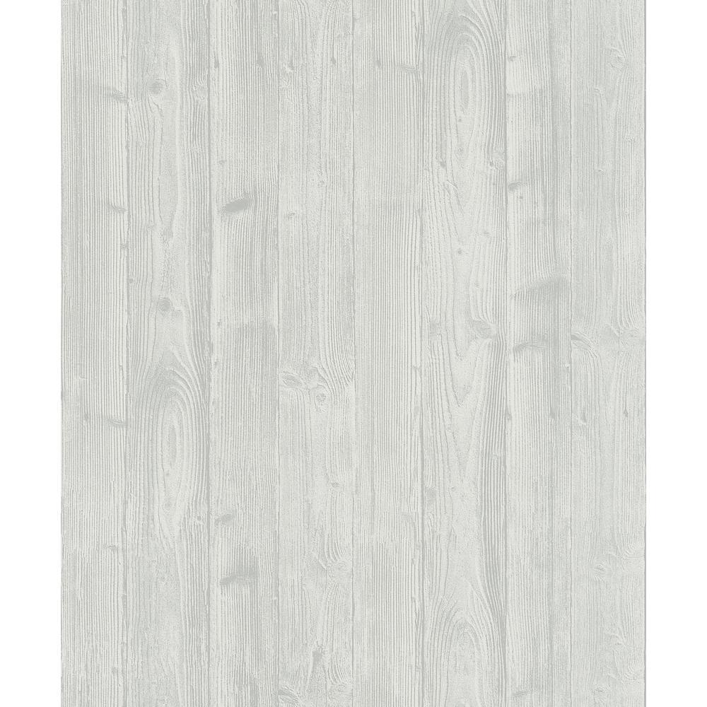56.4 sq. ft. Talbot Light Grey Wood Wallpaper