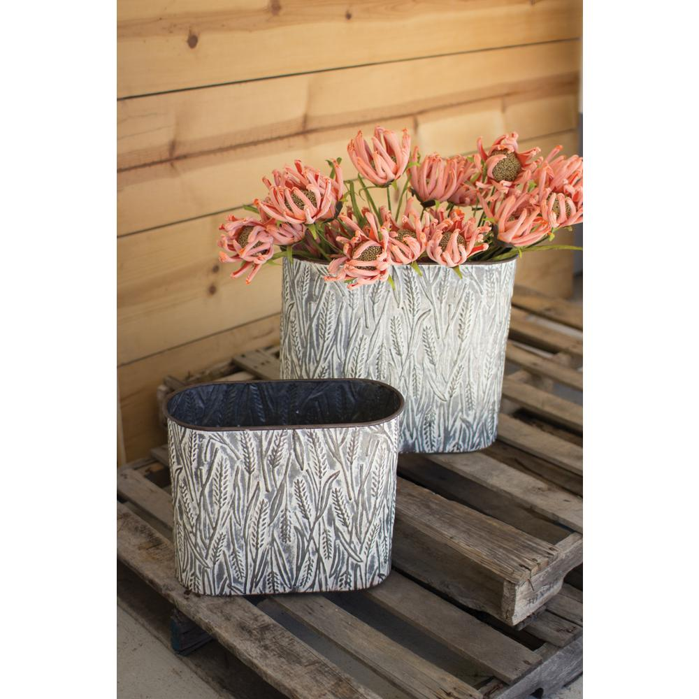 Distressed White Metal Decorative Buckets 2 Pack Cvy1025 The