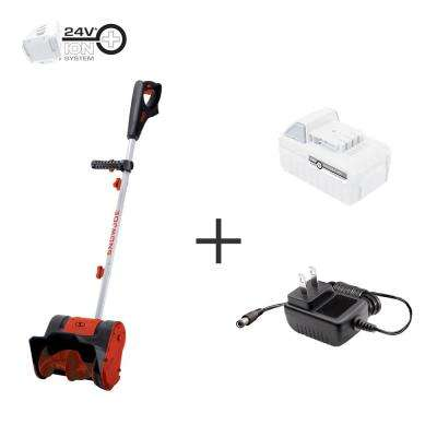 10 in. 24-Volt Cordless Electric Snow Shovel Kit with 5.0 Ah Battery + Charger, Red