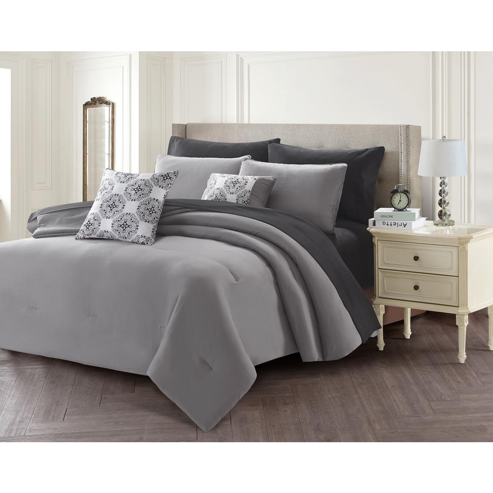 WELCOMEINDUSTRIALCORP WELCOME INDUSTRIAL CORP 9-Piece Gray Queen Bed in a Bag Set