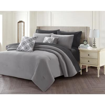 9-Piece Gray Queen Bed in a Bag Set