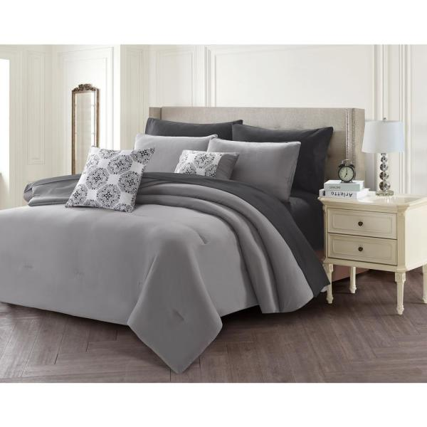 undefined 9-Piece Gray Queen Bed in a Bag Set