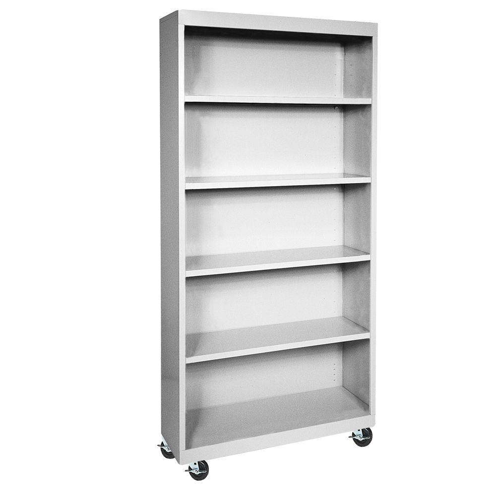 Superb Sandusky Dove Grey Mobile Steel Bookcase