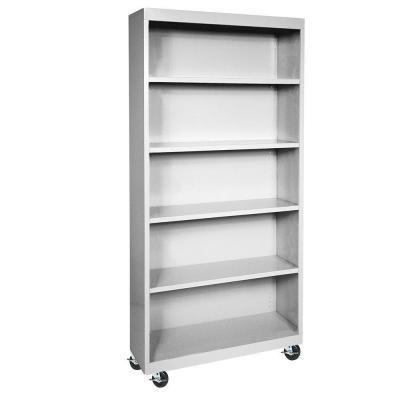 78 in. Dove Gray Metal 5-shelf Cart Bookcase with Adjustable Shelves