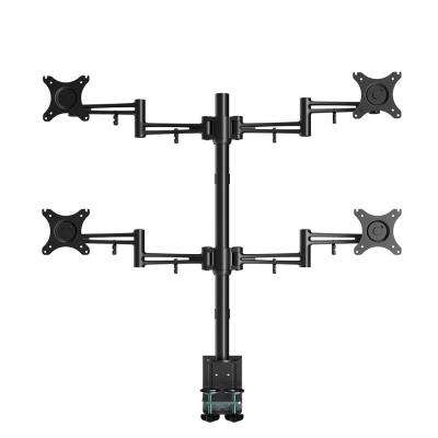 Full Motion Quad Desk Mount Stand Fits 10 in. - 27 in. LCD Computer Monitor with Clamping 22 lbs. Per Arm