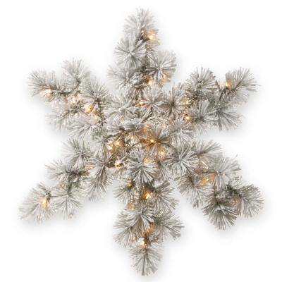 32 in. Snowy Bristle Pine Artificial Snowflake with Battery Operated Warm White LED Lights
