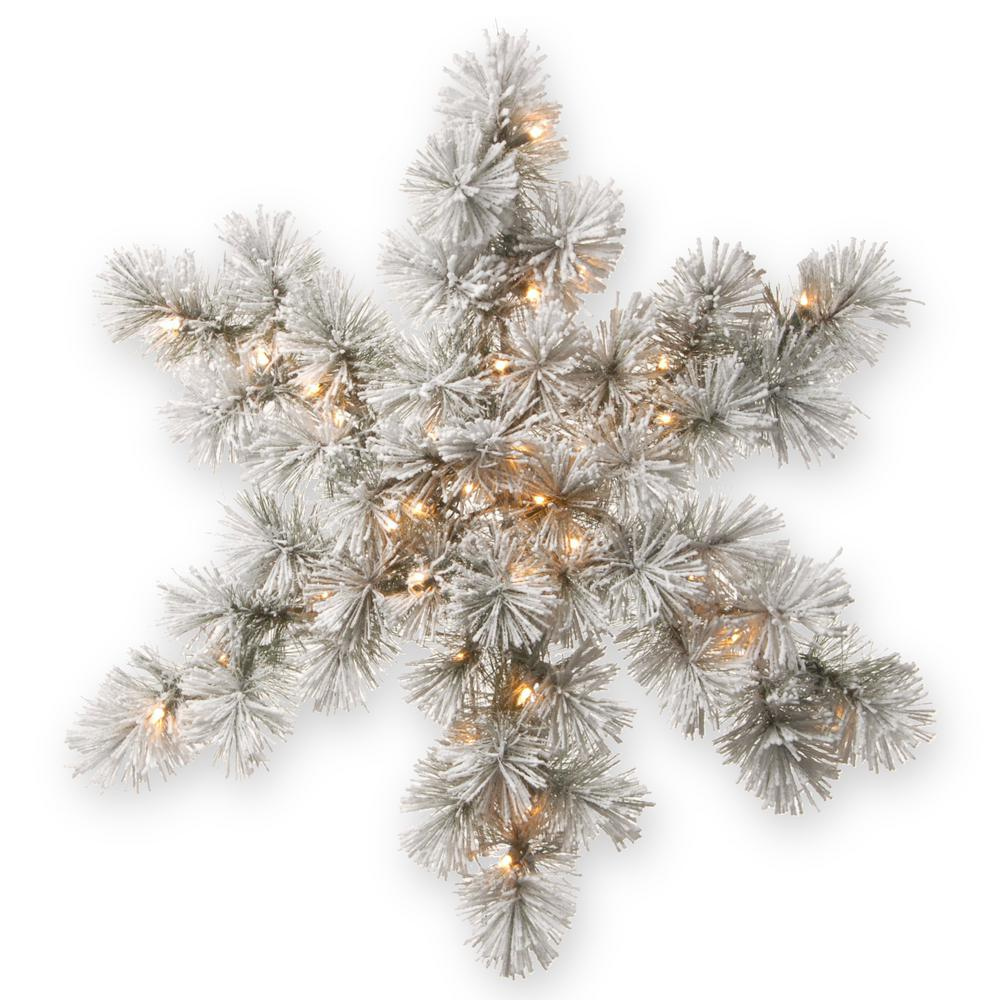32 in. Snowy Bristle Pine Artificial Snowflake with Battery Operated Warm